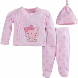 "Gerber Baby Girl Pink ""Take-Me-Home"" 3-Piece Layette Set Cho"