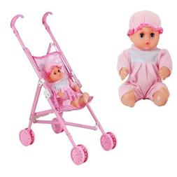 Baby Girl Play Stroller Doll Cradle Toy Foldable Pushchair C