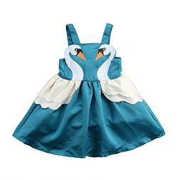 hirigin Baby Girl Princess Dress Summer Backless Strap Swan