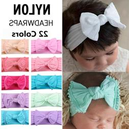 Baby Girl Rabbit Bowknot Turban Nylon Headband Elastic Hair