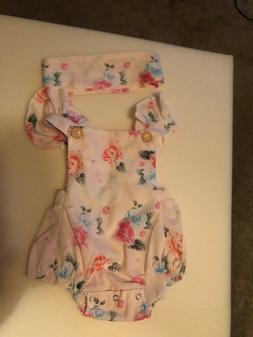 Baby girl romper outfit with matching headband!