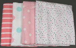 GERBER BABY GIRL'S 4-Pack Flannel Receiving Blankets - HEART