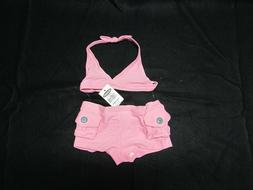 Baby Girl Size 6-12 Month Old Navy Two Piece Pink Swimsuit N