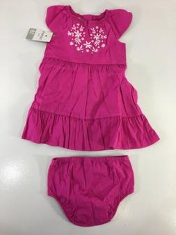 Carters Baby Girl Summer Dress With Under Wear Floral Embroi