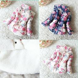 Baby Girl Toddler Winter Thick Padded Coat Flower Princess D