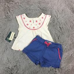 Lucky Brand Baby Girl Two-Piece Outfit Sleeveless Top Shorts