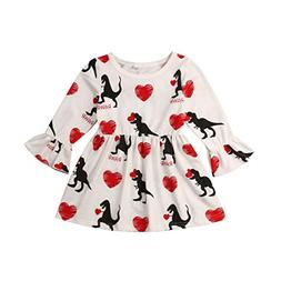 Baby Girl Valentine's Day Dress Heart Dinosaur Long Sleeve H