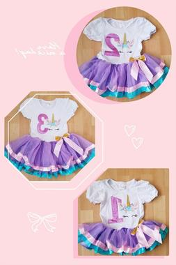 Baby Girl Violet Birthday Party Outfit Dress Unicorn 1year t