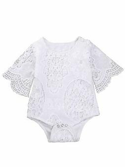 Baby Girl White Hollow Lace Ruffle Sleeve Romper Jumpsuit
