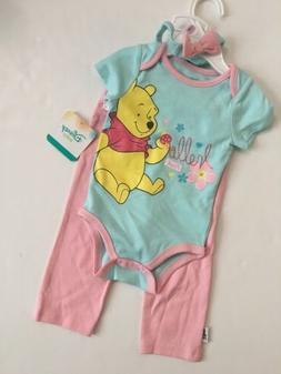 1d75ae25ee1a Disney Baby Girl Winnie The Pooh Bodysuit Pants Outfit Size