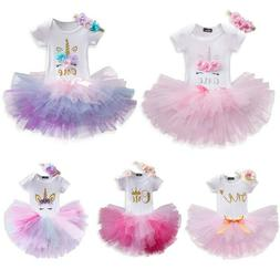 Baby Girls 1st First Birthday Romper Dress Tutu Skirt Headba