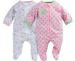 GERBER BABY GIRLS 2-Piece Sleep 'N Plays Zippered Baby Showe