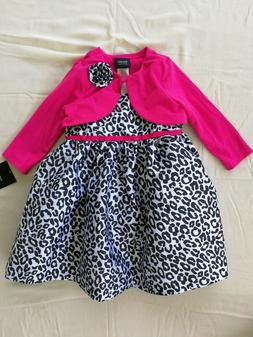 Baby Girls' 2pc Leopard Dress and Fuchsia Cardigan Set For 1