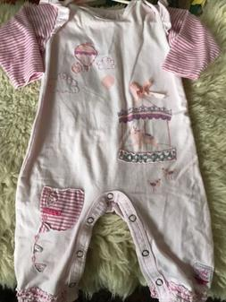 Naartjie Baby Girls 3-6 mo One Piece Romper Outfit Pink Stri