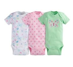 Gerber Baby Girls 3-Pack Butterfly Onesies Bodysuits Size 0-
