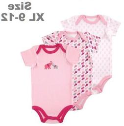 LUVABLE FRIENDS BABY GIRLS 3-PACK COTTON BODYSUITS ELEPHANTS