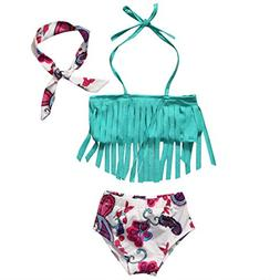 hirigin Baby Girls 3 Pcs Swimwear Tassels Halter Top+Floral