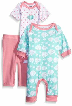 Gerber Baby Girls' 3 Piece Coverall Bodysuit and Legging Set