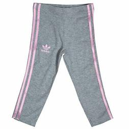 Baby Girls adidas Originals 3 Stripe Leggings In Grey Heathe