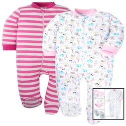 baby girls boys 2 pack footed pajamas