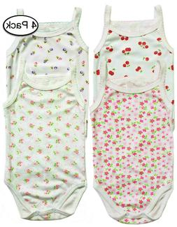 Baby Girls Clothes Bodysuit Cami 4 Pack Set Outfits 3 6 9 12