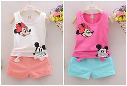 baby Girls clothes cotton summer Top vest +short pants kids