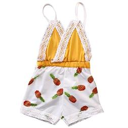 hirigin Baby Girls Clothing Pineapple Print Laced Backless R