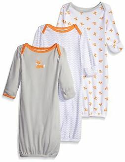 Luvable Friends Baby Girls' Cotton Gowns, 3 Pack Grey/Orange