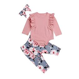 Baby Girls Cotton Ruffle Romper Top Floral Leggings 3pcs Clo