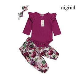 Baby Girls Cotton Ruffle Romper Top Floral Leggings Pants 3p