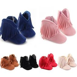 Baby Girls Cowboy Tassels Boots Anti-Slip Solid Color Zipper