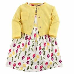 Luvable Friends Baby Girls Dress and Cardigan Set Tulips 9-1