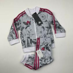 BABY GIRLS: Adidas Floral Jacket & Pants Set, White/Pink - 9