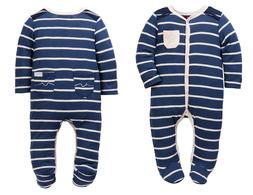 7 For All Mankind Baby Girls Footie Navy Blue Pink One Piece