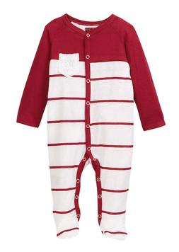7 For All Mankind Baby Girls Footie Red White Lace Pocket On