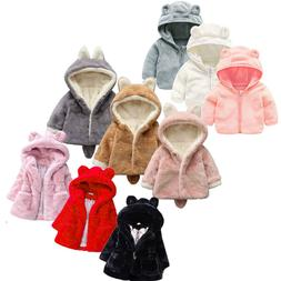 Baby Girls Hooded Coat Jacket Kids Warm Fleece Fur Hoodies T