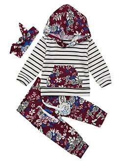 Baby Girls Hoodie Outfit Floral Striped Sweatshirt Top and P