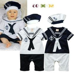 Baby Girls Kids Cotton Infant Boy Outfit Navy Bodysuit Set J