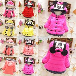 Baby Girls Kids Minnie Mickey Mouse Hoodie Jacket Coat Winte