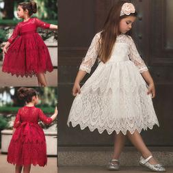 XMAS Kids Baby Girls Lace Flower Princess Tulle Party Pagean