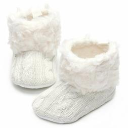 Annnowl Baby Girls Knit Soft Fur Warm Boots Crib Shoes