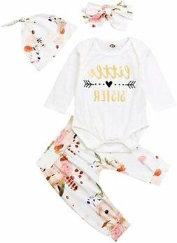 Baby Girls Little Sister Bodysuit Tops Floral Pants Bowknot