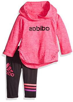 adidas Baby Girls' Long Sleeve Top and Pant Set, Shock Pink