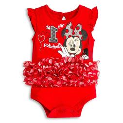 Disney Baby Girls Minnie Mouse First Birthday Tutu Bodysuit