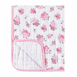Luvable Friends Baby Girls Muslin Roses Tranquility Blanket