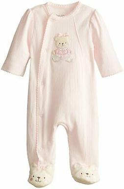 Little Me Baby-Girls Newborn Sweet Bear Footie Light Pink 3