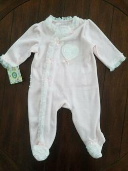 Little Me Baby Girls One Piece Pink Velour Footie Size 6 Mon