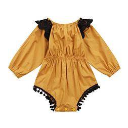 Emmababy Baby Girls One-Pieces Romper Jumpsuit Lace Long Sle
