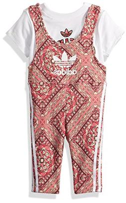 adidas Originals Baby Girls Originals Graphic Jumpsuit, Whit