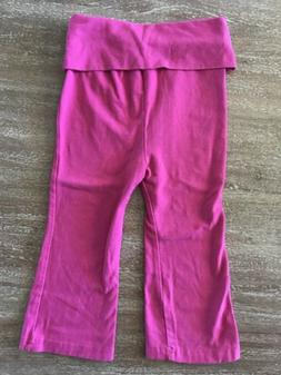 Yoga Sprout Baby Girls Pink Fold Over Yoga Pants 24 Months
